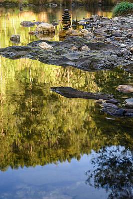 Balancing Zen Stones In Countryside River Ix Original by Marco Oliveira