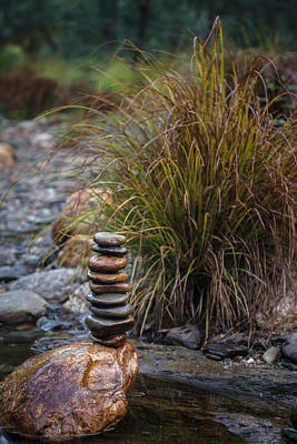 Balancing Zen Stones In Countryside River V Print by Marco Oliveira