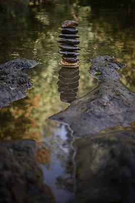 Balancing Zen Stones In Countryside River X Print by Marco Oliveira
