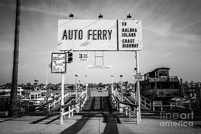 Balboa Island Ferry Black And White Picture Print by Paul Velgos
