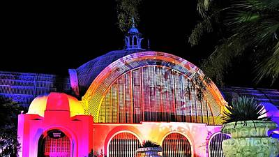 Flowers On Line Photograph - Balboa Park Botanical Building Holiday Lighting by Jasna Gopic