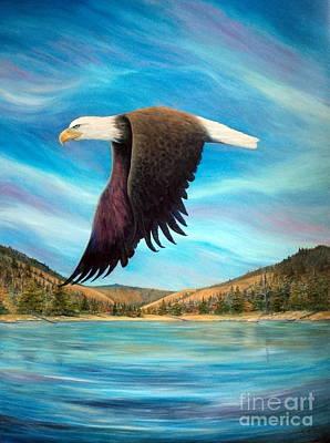 Yellow Beak Painting - Bald Eagle Shuswap Rhapsody by Joey Nash