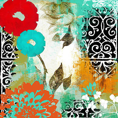 Abstract Collage Painting - Bali I Abstract Collage Painting by Mindy Sommers