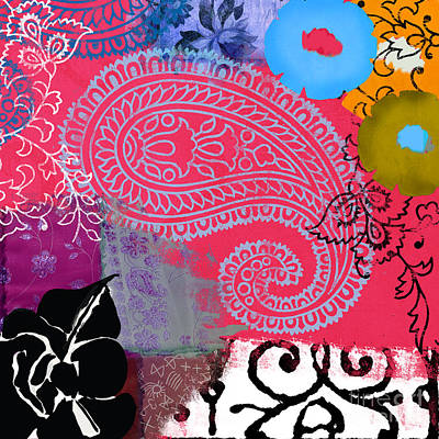 Abstract Collage Painting - Bali IIi Abstract Collage Painting by Mindy Sommers