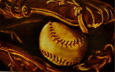 Baseball Painting - Ball In Glove 2 by Lindsay Frost