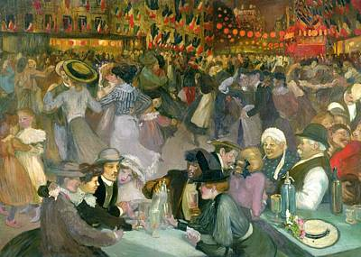 Bunting Painting - Ball On The 14th July by Theophile Alexandre Steinlen
