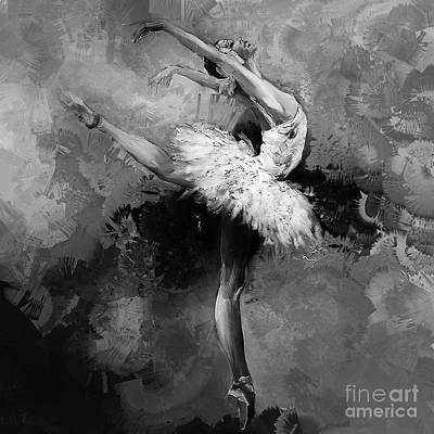 Dancers Painting - Ballerina 09912 by Gull G