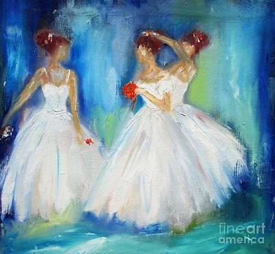 Ballerina Painting - Ballerina Girls Wall Art  by Mary Cahalan Lee- aka PIXI