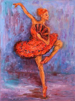 Ballerina Dancing With A Fan Original by Xueling Zou