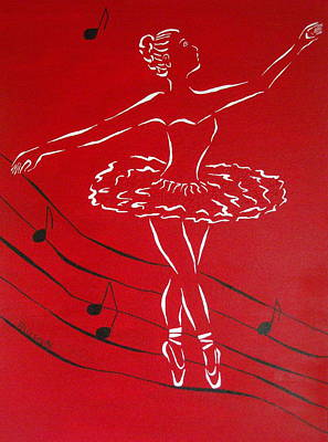 Ballet Painting - Ballerina In Red by Pamela Allegretto