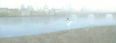 Surreal Painting - Ballerina On The Thames by Steve Mitchell