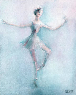 Blue And Red Painting - Ballerina Pastel Pink And Blue by Beverly Brown
