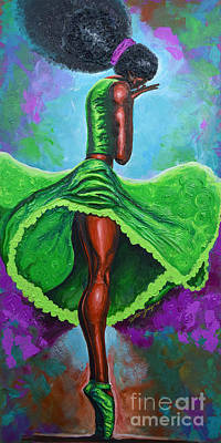 Strength Painting - Ballerina Shades Of Green by The Art of DionJa\'Y
