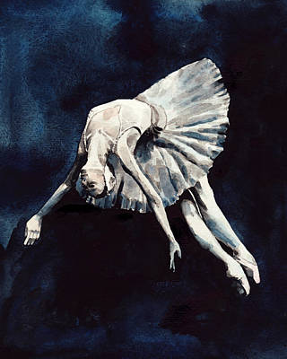 Swan Lake Ballet Painting - Ballerina Swan Dive by Laura Row
