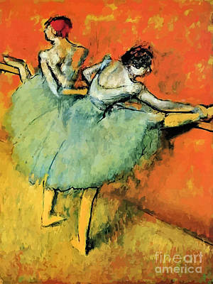 Blueish Digital Art - Ballet Dancers At The Barre by Aapshop