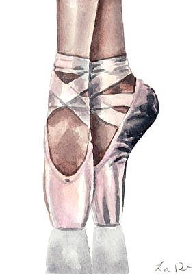 Swan Lake Ballet Painting - Ballet Shoes En Pointe Pink Slippers Toe Shoes Ballerina by Laura Row