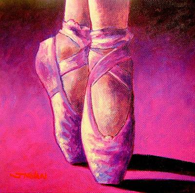 Print Card Painting - Ballet Shoes  II by John  Nolan