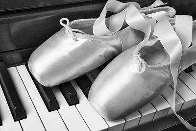 Keyboards Photograph - Ballet Slipers In Black And White by Garry Gay