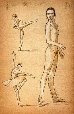 Tutus Drawing - Ballet Studies by H James Hoff