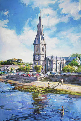 Reflections In River Painting - Ballina Cathedral On River Moy by Conor McGuire