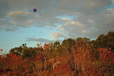 Ballon Over Burning Trees Print by Michael Thomas