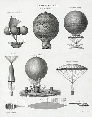 Aviators Drawing - Balloon Design From The Late 18th And by Vintage Design Pics