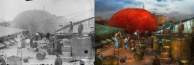 Balloon - Filling Balloon On Wanamaker's  - 1911 - Side By Side Print by Mike Savad