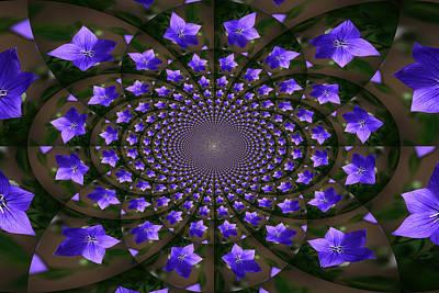 Balloon Flower Kaleidoscope Print by Teresa Mucha