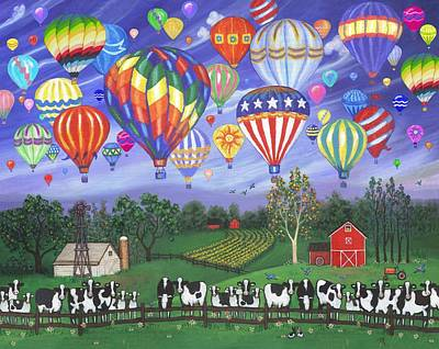 Cow Painting - Balloon Race Two by Linda Mears