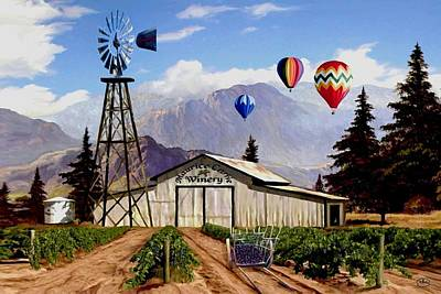 Wine Cart Painting - Balloons Over The Winery 1 by Ron Chambers
