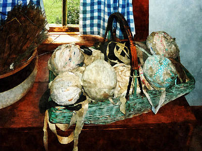 Balls Of Cloth Strips In Basket Print by Susan Savad