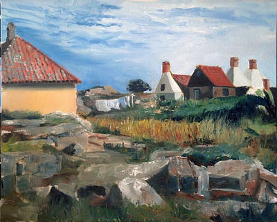 Laundry Painting - Baltic Scene 1 by Mary Marin