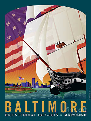 Constellation Digital Art - Baltimore - By The Dawns Early Light by Joe Barsin