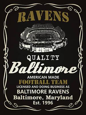 Raven Mixed Media - Baltimore Ravens Whiskey by Joe Hamilton