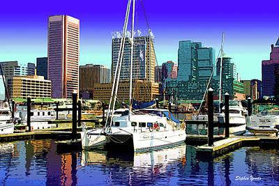 Oriole Digital Art - Baltimore's Inner Harbor by Stephen Younts