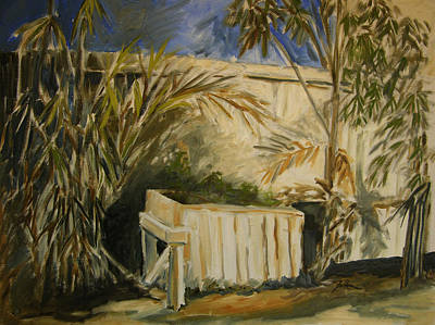 Bamboo Fence Painting - Bamboo And Herb Garden by Julianne Felton