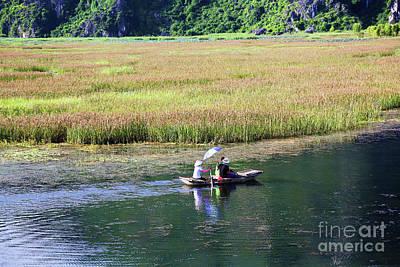 Binh Photograph - Bamboo Raft Van Long Vietnam by Chuck Kuhn