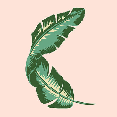 Paradise Drawing - Banana Leaf Square Print by Lauren Amelia Hughes
