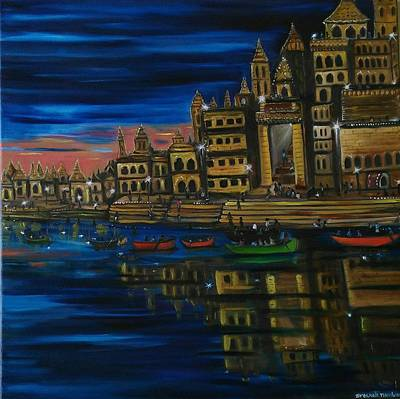 Night Lamp Painting - Banaras Ghat by Sreekala Nambiar