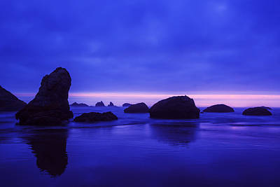 Bandon Beach Oregon Blue Sunset Print by Vishwanath Bhat