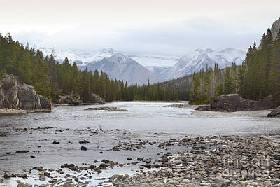 Banff Canada Bow River Landscape Print by Andrea Hazel Ihlefeld