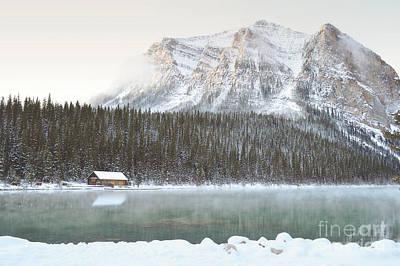Banff Canada Log Cabin Mountain Landscape Print by Andrea Hazel Ihlefeld