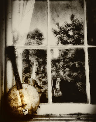 Banjo Mandolin In The Window In Black And White Print by Bill Cannon