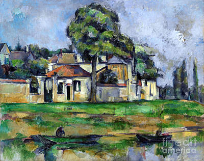 Banks Of The Marne Print by Cezanne