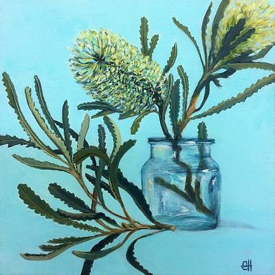 Painting - Banksia Australian Native Painting by Chris Hobel