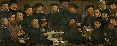 Painting - Banquet Of Eighteen Guardsmen Of Squad L Known As The Perch Eaters by Dirck Barendsz