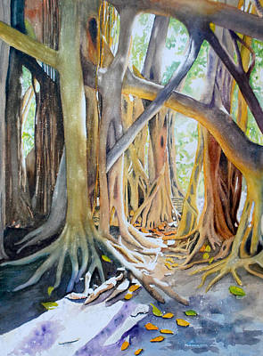 Tree Roots Painting - Banyan Shadow And Light by Terry Arroyo Mulrooney