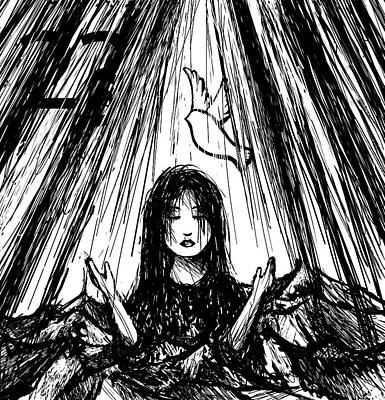 Born Again Drawing - Baptized by Rachel Christine Nowicki