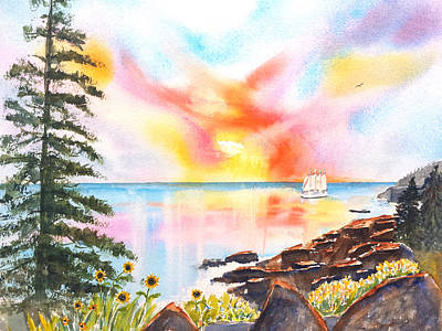 Historic Schooner Painting - Bar Harbor Watercolor by Carlin Blahnik