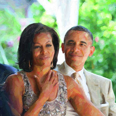 Michelle Obama Painting - Barack And Michelle Obama by Celestial Images